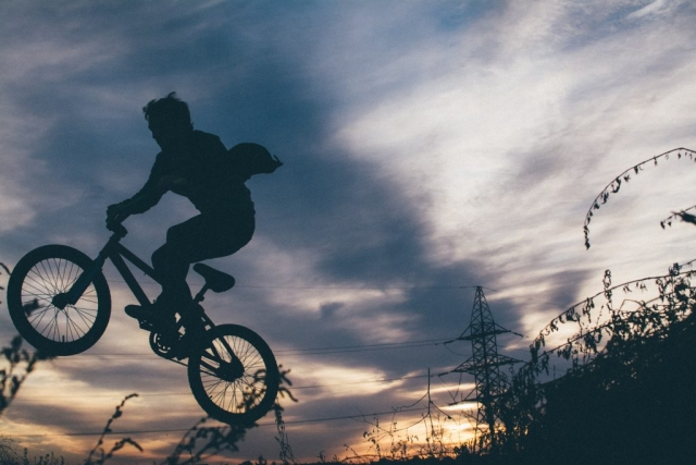 Bike, bmx, sky, silhouette and person