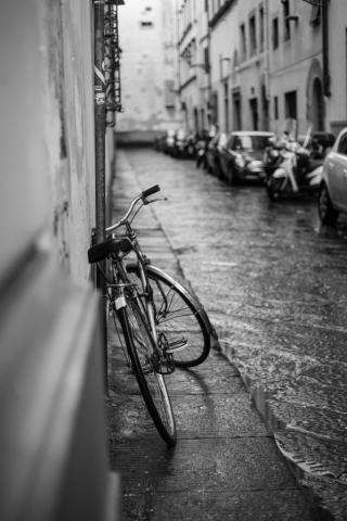 Bike on rainy street
